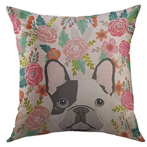 Floral Bench Painted French Hand (2019 new fashion Decorative Throw Pillow Cover for Couch Sofa,Frenchie French Bulldog Cute Floral Pet Puppy Home Decor Pillow case 18x18 Inch)