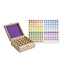 SOLIGT 25 Slot Wooden Essential Oil Box/case, holds 25 5,10,15ml and 10ml Roller Bottles, Perfect Essential Oil Storage/organizer Case For Travel and Presentation(inner diameter height 3.5 inches)