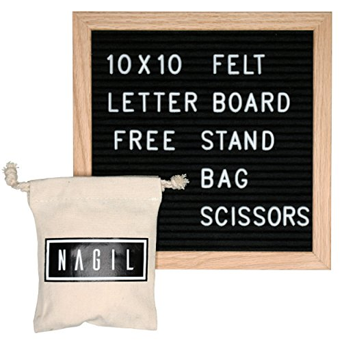Black Felt Letter Board 10x10 inch. Oak Frame with Mounting Hook for Wall Display and Decoration, 340 Counts 3/4inch White Letters with Emojis, FREE Letter Bag, Wooden Stand, and Scissors for Gift