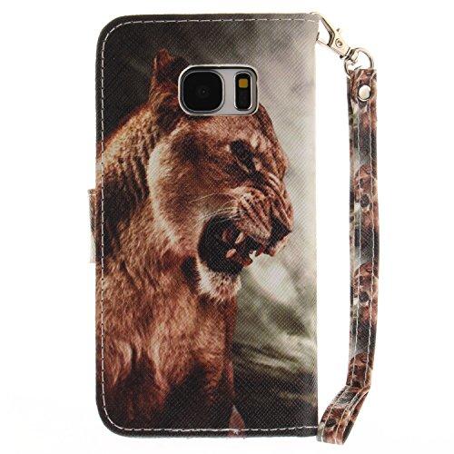 Para Samsung Galaxy S7 funda, (doguillo) caja del teléfono de la PU patrón en pintado ,Función de Soporte Billetera con Tapa para Tarjetas correa de mano soporte para teléfono león