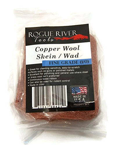 Copper Wool- Skein, Pad, Wad - 3.5 Oz Skein Fine Grade 1/0 Grade - Made in USA! by Rogue River Tools