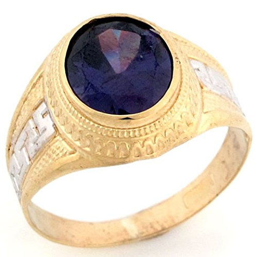 - Jewelry Liquidation 10k Two Tone Solid Gold Oval Simulated Amethyst February Birthstone Mens Ring