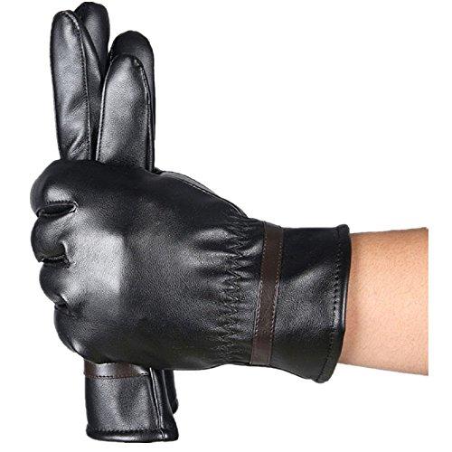 Invisible Man Tuxedo Costume (Luweki Men Fashion Warm Cashmere Leather Male Winter Gloves Driving Waterproof)