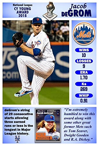 - PosterWarehouse2017 Mets' Jacob deGrom WINS The 2018 CY Young Award Commemorative Poster