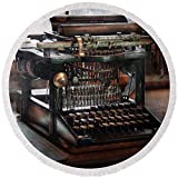 Pixels Round Beach Towel With Tassels featuring ''Steampunk - Typewriter - A Really Old Typewriter '' by Mike Savad