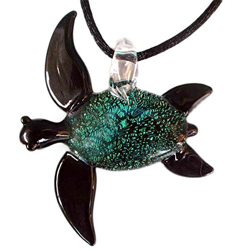 - Our Large Hand Blown Black and Dichroic Glass Sea Turtle Pendant, Necklace