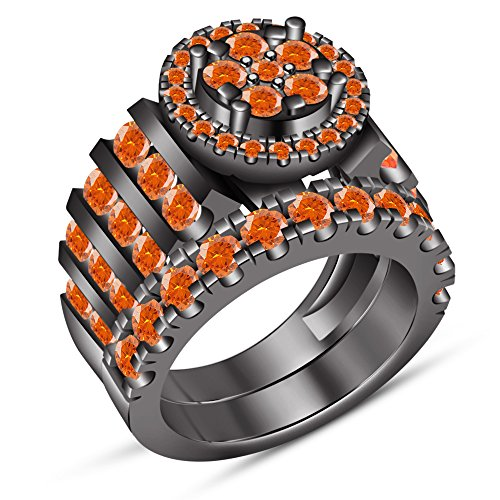 TVS-JEWELS Black Gold Plated Over 925 Silver Orange Sapphire Bridal Wedding Engagement Ring Set (5.5) by TVS-JEWELS