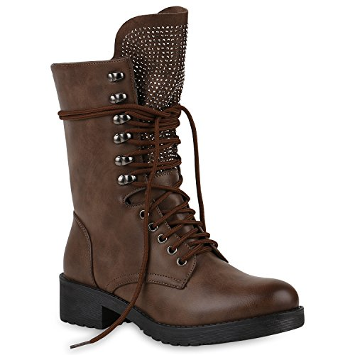 Stiefelparadies Damen Schuhe Biker Boots Winter Plateau Booties Gefütterte Stiefel Nieten Flandell Khaki Broolyn Strass