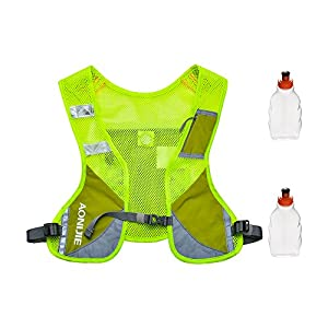 Reflective Vest ,Light Adjiustable Hydration Pack Vest for Running with 2 Water Bottle Holder,sturdy buckles,pocket, Reflective Strips,Perfect for Day and Night Running, Jogging, Cycling (Green)