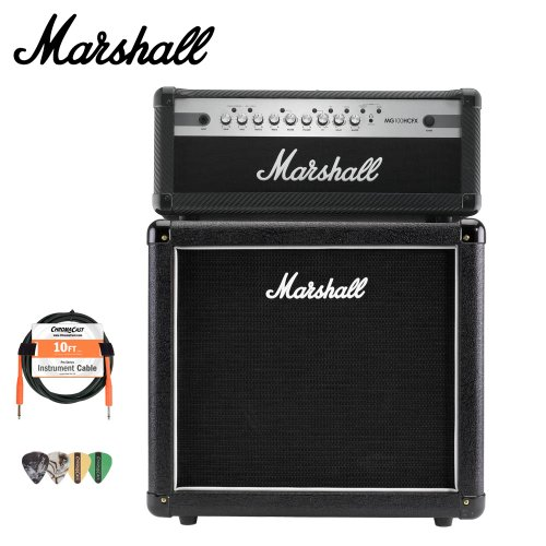 Marshall MX112 Guitar Speaker Cabinet and MG100HCFX Amp with Accessories (Marshall Accessories)