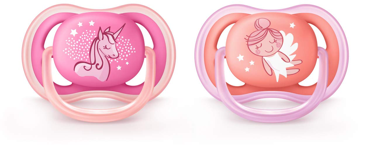 6-18 months contemporary decos SCF345//22 2 pack pink//peach Philips Avent Ultra Air Pacifier