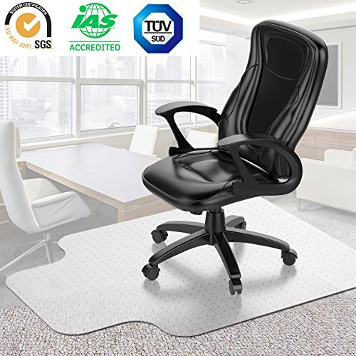 Desk Chair Mat for Carpet - Vinyl Floor Protector for Low-Pile Carpets,Non-Slip Bottom | Home, Office, Computer by kuss Online (Image #7)