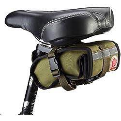 Bicycle Folding bike Cycling Seat Bag Road Bicycle Bike Personalized Canvas Saddle Bag Basket Seat Bag-Army green