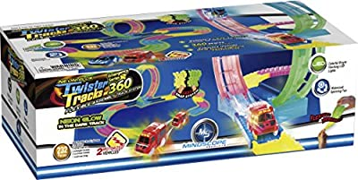 Mindscope Twister Tracks Trax 360 Loop 15' (feet) of Neon Glow in the Dark Track with Two Light-Up (Pulse LED) Vehicles Emergency Vehicle Series