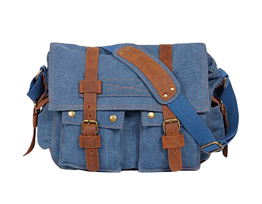 VVVSO Mens Vintage Canvas Leather Messenger Shoulder Bag Camera Bag Military Crossbody Bags Coffee