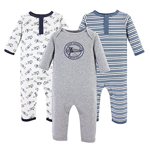 Hudson Baby Baby Cotton Union Suit, 3 Pack, Aviation, 18 (Footless Long Sleeve)