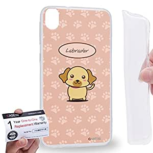 Case88 [HTC Desire 820] Gel TPU Phone case & Warranty Card - Art Hand Drawing Labrador Cartoon Puppy Art1242