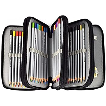 FAMICOZY 72 Pencil Holder 4-Layer Large Capacity Pencil Bag Case Pounch Rose Arts Crafts Storage Boxes and Organizers Black