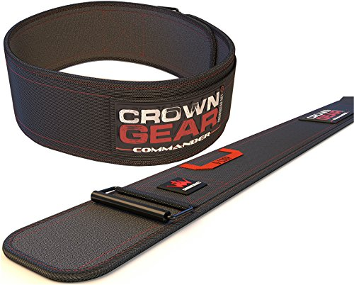 Weightlifting Belt for Gym Fitness Bodybuilding - Crown Gear COMMANDER 4-Inch Weight Lifting Belt for Back Support (Commander, L)