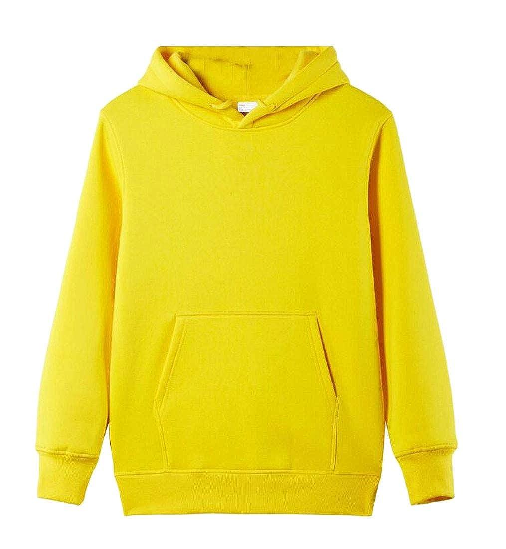 Etecredpow Men Fleece Hooded Pure Color Slim Fit Pullover Sweatshirts