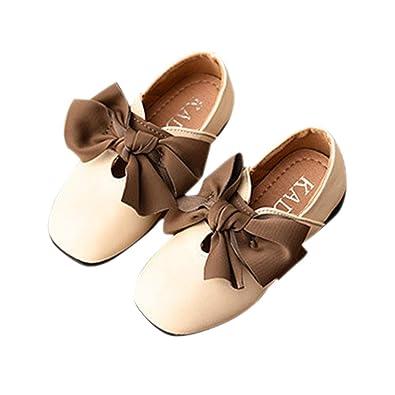 211dc5f6598 Amazon.com | BININBOX Kids Bowknot Girls Dress Shoes Pearl Flat ...