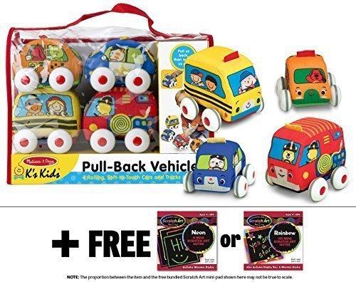 K's Kids Pull-Back Vehicle Set + FREE Melissa & Doug Scratch Art Mini-Pad Bundle [91688]