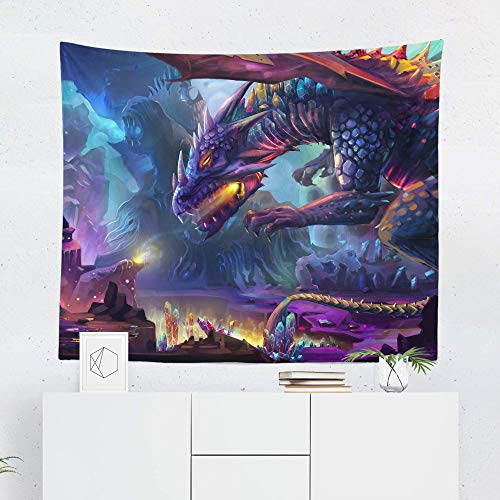 Dragon Tapestry Wall Hanging Fantasy Mystical Monster Warrior Tapestries Dorm Room Bedroom Decor Art - Printed in the USA - Small to Giant Sizes