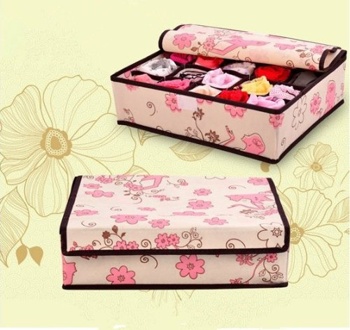 GED Women flowers design Non-Woven Underwear Storage Box Socks Ties Bra Underpants Scarf Towels Organizer Boxes Set of 3