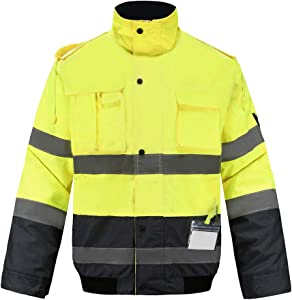 Hi-vis Reflective Winter Bomber Coat, A-SAFETY, High Visibility Safety Waterproof Jacket Work wear with Detachable Sleeve, Zip Out Fleece Liner, Black Bottom, XL