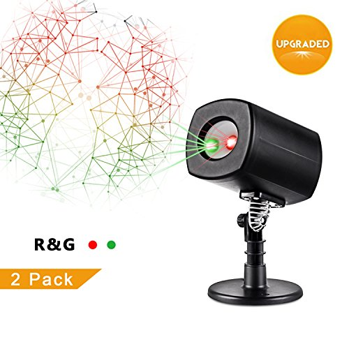 Christmas Laser Lights,Outdoor Projector lights with Remote Control by Clustars ,IP65 Waterproof,Red and Green Laser Light Show Garden Spotlight For Xmas Holiday Party Landscape Decoration(2-Pack)