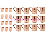 100% COPPER MOSCOW MULE MUGS (SET OF 12) 12 BONUS COPPER SHOT CUP Panchal Creation