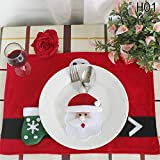 CAHEDSD 1 Pc Christmas Ornament Year Christmas Decoration for Home Table Decor Cutlery Pocket Fork&Knife Tableware Pouch Santa Claus 1