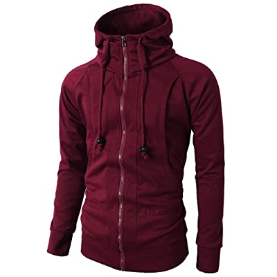 Vickyleb Men's Fashion Fit Full-Zip Hoodies, Mens Casual Slim Fit Hoodie Jackets Double Zipper Closer with Pockets: Clothing