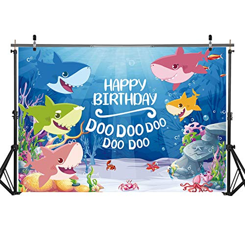 Haboke 5x3ft Durable/Soft Fabric Cartoon Shark Happy Birthday Under The Sea Theme Backdrop for Newborn Birthday Baby Shower Party Photography Background Supplies Photo Shoot Studio Props