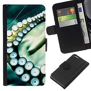 JackGot ( Polpo Calamari Sea Tentacolo ) Apple iPhone 5C la tarjeta de Crédito Slots PU Funda de cuero Monedero caso cubierta de piel