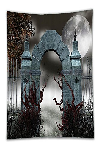Beshowereb - Manta de forro polar, diseño gótico de la colección Scary Medieval de la Edad Media con niebla, luna completa...