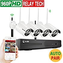4CH Wireless 960P Network Security Outdoor IP Camera Built-in WIFI Module, 1.3MP High Resolution, Plug and Night Vision Cameras with Motion Detection Alarm &Smartphone Remote-NO HDD