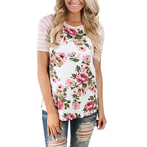 vermers Women's Floral Print Striped Tee Crew Neck Shirt Short Sleeve Tops (XL, Pink)