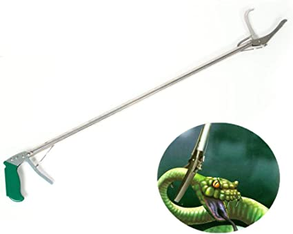 Aluminum Alloy Snake Clamp with Self-Lock Function Silver /& Green Professional Snake Tong Reptile Grabber Rattle Snake Catcher Wide Jaw Handling Tool with Comfortable Grip Handle