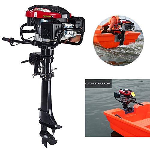 OUKANING Outboard Motors, 7HP 4-Stroke Outboard Motor Marine Engine Air Cooling Tiller Control 50cm Shaft Fishing Boat Yacht Engine Air Cooling Inflatable Boat Motor, USA Stock (Johnson 4 Stroke Outboard Motors For Sale)