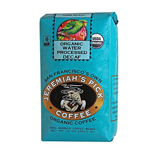 Jeremiah's Pick Coffee Organic Water Processed Decaf, Raisin & Chocolate Round and Robust Whole Bean Coffee, Dark Roast, 10 Ounce (Round Roast)