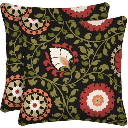 """Better Homes and Gardens Outdoor Patio 16"""" Square Toss Pillow, Set of Two - Serrano Suzan"""