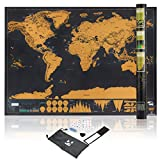 Scratch Off World Map Poster – Deluxe Large Scratching Wall Map for The Globe Traveler + Accessories – Includes Magnifier, Stickers, Guitar pick, Eraser and Bag + Box, ready for your journey – By K&J