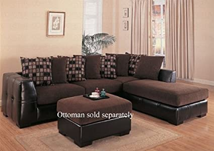 Amazon.com: Microfiber Sectional Sofa with Chaise on Right ...