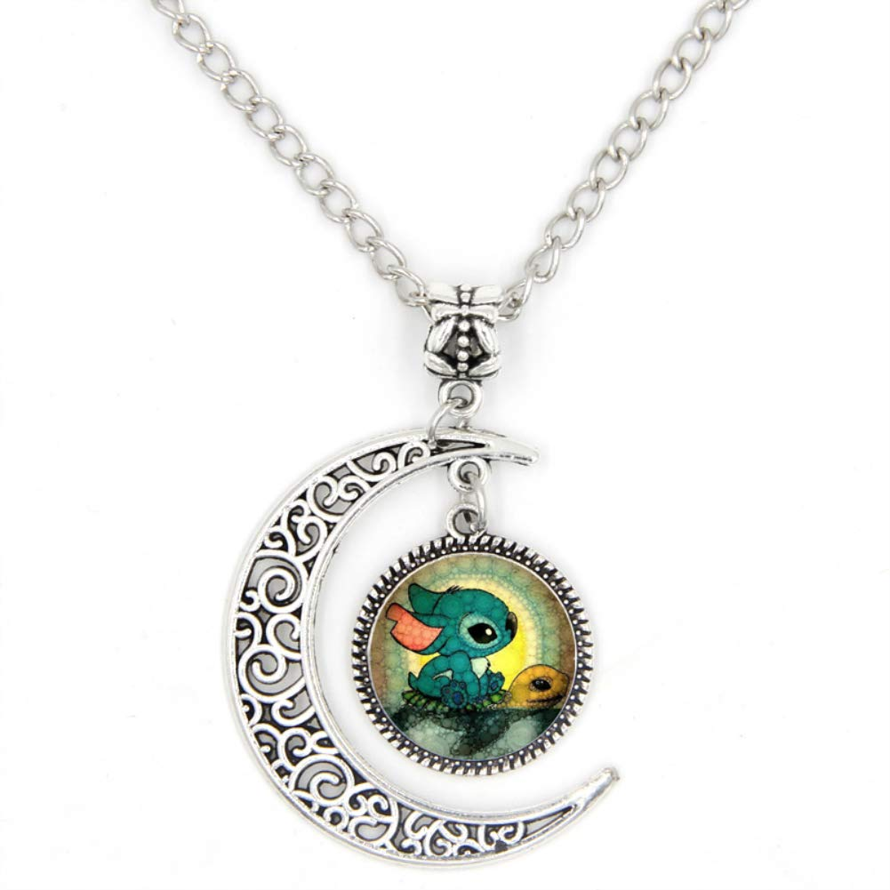 LIAOWY Cute Stitch Necklace Pendant, Crescent Moon Necklace Jewelry Christmas Brithday Friendship Gifts Silver