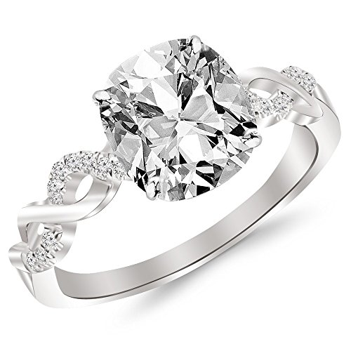 1.13 Cttw 14K White Gold Cushion Cut Twisting Infinity Gold and Diamond Split Shank Pave Set Diamond Engagement Ring with a 1 Carat I-J Color SI2-I1 Clarity Center Image
