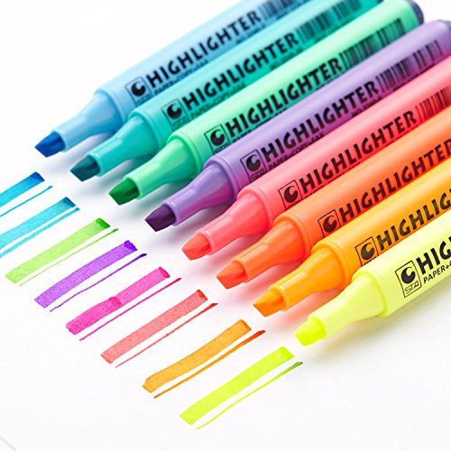 (EASTHILL 8Pcs Permanent Markers Tip Gel Highlighters Assorted Colored pens For Study Planner Office Art Drawing Sketching Underlining)