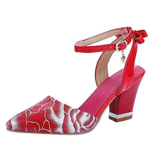 Charm Fot Kvinna Chunky Utskrift Spetsig Tå Bukle Patent Lädersandals Rött