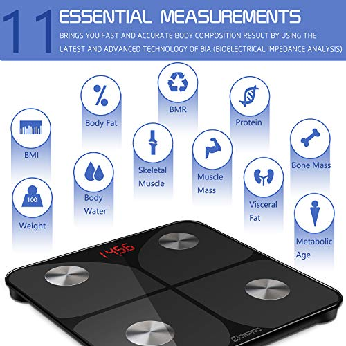 Smart Body Fat Weight Scale - Digital Bathroom BMI Scale High Precision  Wireless Body Composition Analyzer Health Monitor with iOS & Android App  for