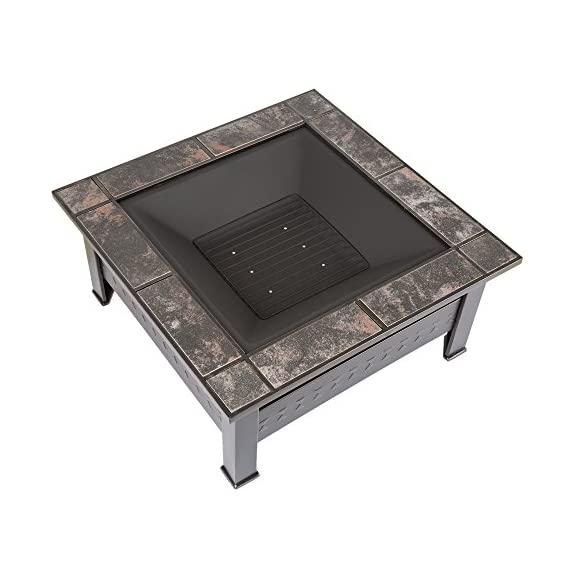 "Fire Pit Set, Wood Burning Pit -Includes Screen, Cover and Log Poker- Great for Outdoor and Patio, 32 Inch"" Marble Tile Square Firepit by Pure Garden - ULTIMATE OUTDOOR RELAXATION - This Outdoor Fire Pit is an ideal blend of contemporary modern design, natural elements, and a unique pattern with beautiful marble tile with antique bronze accents. Create lasting memories with family and friends while enjoying a cozy fire. Enjoy roasting s'mores with kids or an adult evening bon fire. The fire pit is sure to be a vivid focal point on your patio or deck for many seasons to come! DURABLE DESIGN- Enjoy your tile wood burning Fire Pit without worry. Made from powder coated steel to resist rust, this fire pit is lightweight and weatherproof for longer lasting outdoor use. The steel leg construction and decorative sturdy design will have long lasting appeal and would be a charming addition to your yard or patio. LOW MAINTENANCE AND EASY SET UP- The Pure Garden Fire Pit is easy to set up and requires very little upkeep. Wood burning for convenient heating. Clean the outside with a slightly damp cloth. No chemicals or cleaning product required. - patio, outdoor-decor, fire-pits-outdoor-fireplaces - 51MsxyMz7jL. SS570  -"